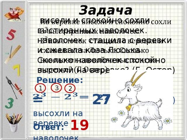 Задача  висели и спокойно сохли выстиранных наволочек. наволочек стащила с веревки и сжевала коза Люська. Сколько наволочек спокойно высохли на веревке? (Г. Остер)  Решение: 3 1 2 19 (н) =  27 =  высохли на веревке Ответ: 19 наволочек