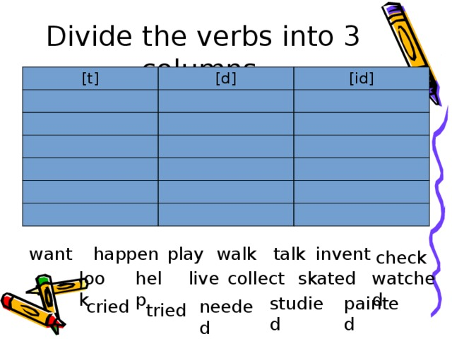 Divide the verbs into 3 columns. [t] [d] [id] want happen play walk talk invent check skated watched look collect live help studied painted cried needed tried