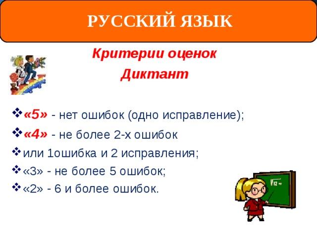 РУССКИЙ ЯЗЫК Критерии оценок Диктант