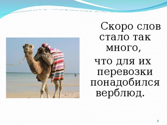 Скоро слов стало так много, что для их перевозки понадобился верблюд.