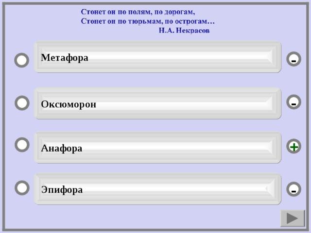 Метафора -  Оксюморон -  Анафора +  Эпифора -