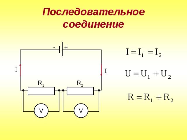 Последовательное соединение + - R 1 R 2 V V