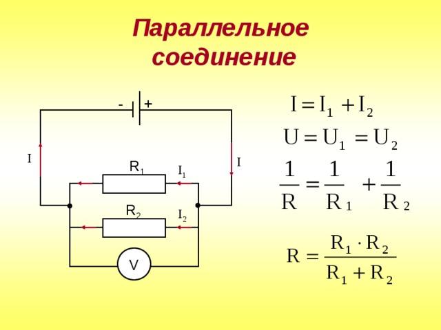Параллельное  соединение - + R 1 R 2 V