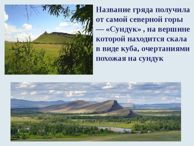 Название гряда получила от самой северной горы — «Сундук» , на вершине которой находится скала в виде куба, очертаниями похожая на сундук