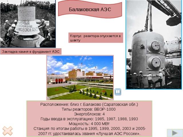 Балаковская АЭС В качестве распространенного топлива для атомных электростанций применяется уран. Реакция деления осуществляется в основном блоке атомной электростанции– ядерном реакторе.   Управление реактором осуществляется равномерно распределенными по реактору 211 стержнями поглощающими нейтроны. Топливная кассета устанавливается в технологический канал. Количество технологических каналов в реакторе – 1661. Реактор размещается в железобетонной шахте. Масса реактора передается на бетон через металлоконструкции, которые служат одновременно защитой от радиационных излучений и вместе с кожухом реактора образуют герметичную полость - реакторное пространство.