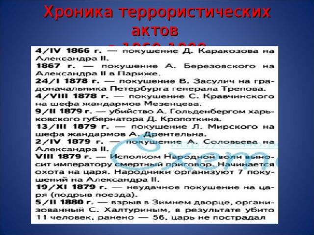 Хроника террористических актов  в 1860-1880