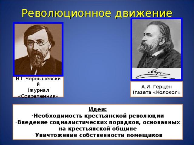 Революционное движение Н.Г.Чернышевский (журнал «Современник» А.И. Герцен (газета «Колокол» Идеи: