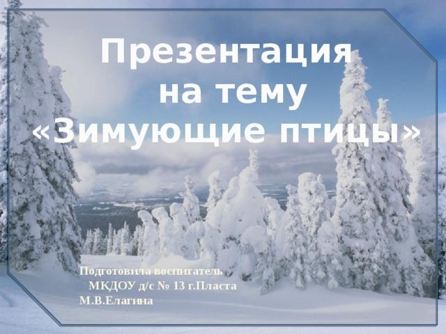 Презентация  на тему «Зимующие птицы» Подготовила воспитатель  МКДОУ д/с № 13 г.Пласта М.В.Елагина