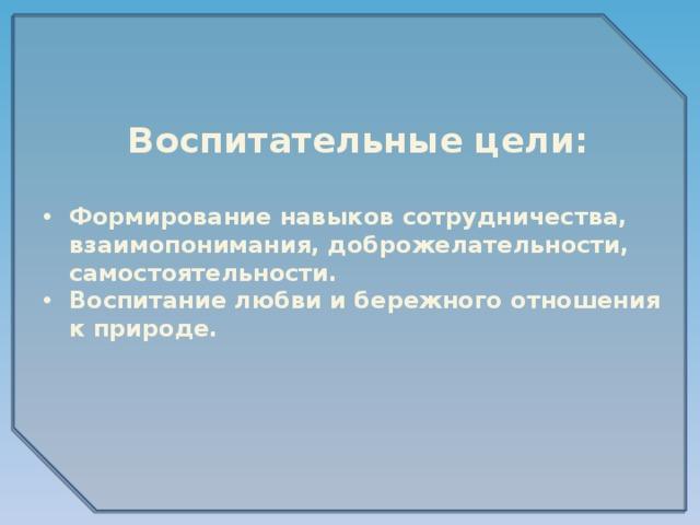 Воспитательные цели: