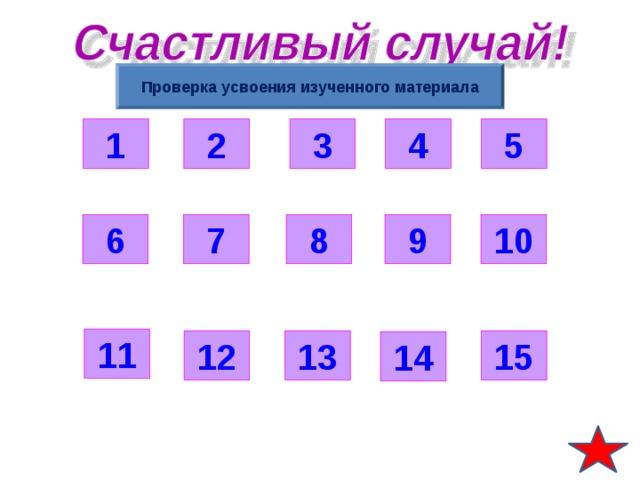 Проверка усвоения изученного материала 3 5 2 4 1 6 9 7 8 10 11 12 15 13 14