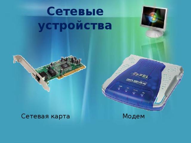 Сетевые устройства Сетевая карта Модем