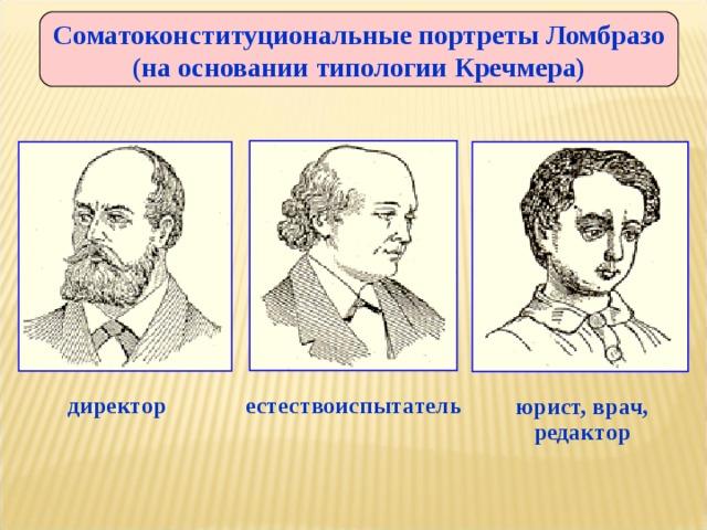 Соматоконституциональные портреты Ломбразо (на основании типологии Кречмера) юрист, врач, редактор директор естествоиспытатель
