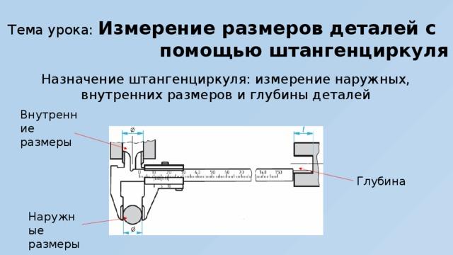 Тема урока: Измерение размеров деталей с помощью штангенциркуля Назначение штангенциркуля: измерение наружных, внутренних размеров и глубины деталей Внутренние размеры Глубина Наружные размеры