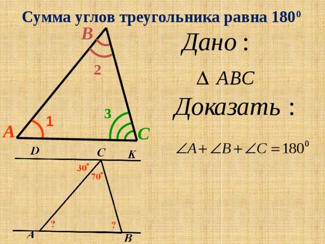 Сумма углов треугольника равна 180 0 B 2 3 1 A C