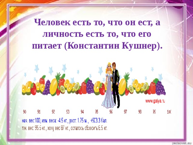 Человек есть то, что он ест, а личность есть то, что его питает (Константин Кушнер).