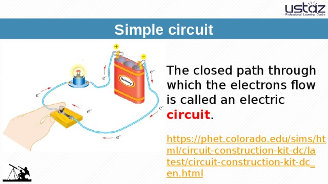 Simple circuit The closed path through which the electrons flow is called an electric circuit . https://phet.colorado.edu/sims/html/circuit-construction-kit-dc/latest/circuit-construction-kit-dc_en.html