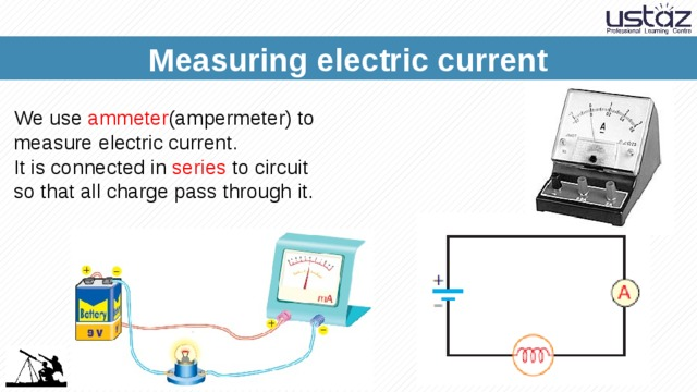 Measuring electric current We use ammeter (ampermeter) to measure electric current. It is connected in series to circuit so that all charge pass through it.