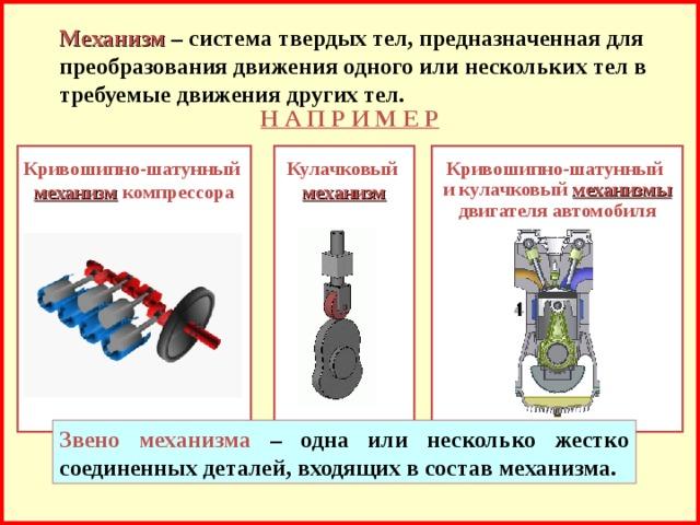 Механизм  – система твердых тел, предназначенная для преобразования движения одного или нескольких тел в требуемые движения других тел. Н А П Р И М Е Р Кулачковый  механизм  Кривошипно-шатунный  и кулачковый механизмы  двигателя автомобиля Кривошипно-шатунный  механизм компрессора  Звено механизма – одна или несколько жестко соединенных деталей, входящих в состав механизма.
