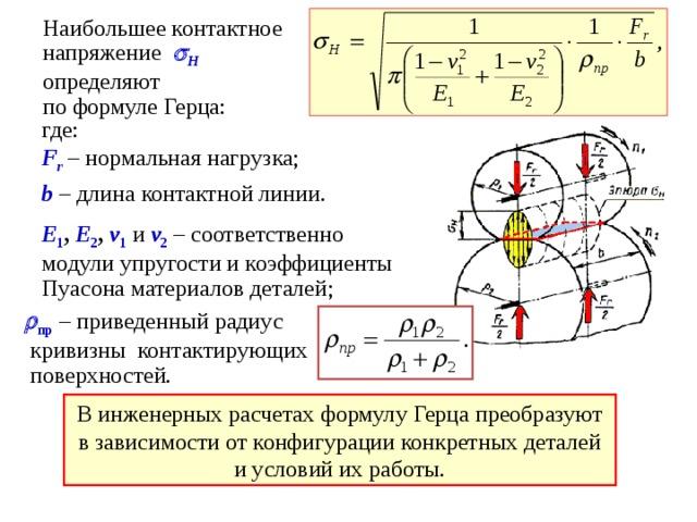 Наибольшее контактное  напряжение    H   о пределяют  по формуле Герца : где:  F r – нормальная нагрузка; b – длина контактной линии. Е 1 , Е 2 , v 1  и v 2 – соответственно модули упругости и коэффициенты Пуасона материалов деталей;  пр – приведенный радиус  кривизны контактирующих  поверхностей. В инженерных расчетах формулу Герца преобразуют в зависимости от конфигурации конкретных деталей и условий их работы.