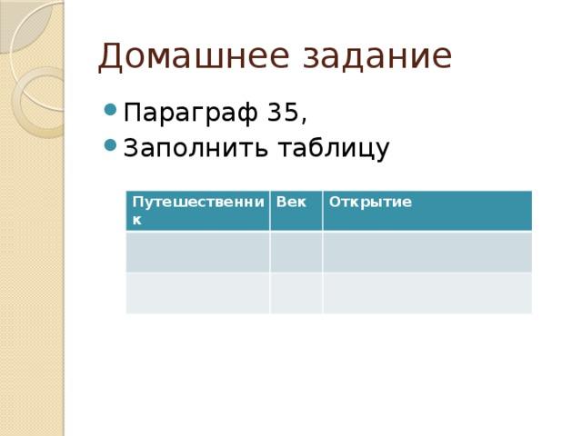Домашнее задание Параграф 35, Заполнить таблицу Путешественник Век Открытие