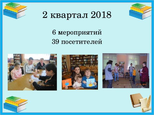 2 квартал 2018 6 мероприятий 39 посетителей