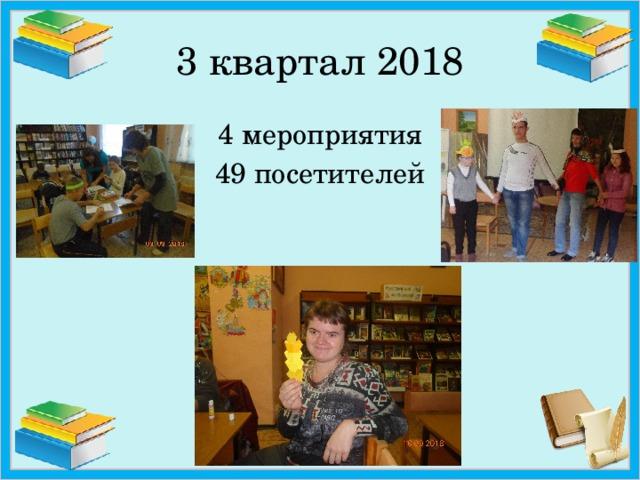 3 квартал 2018 4 мероприятия 49 посетителей