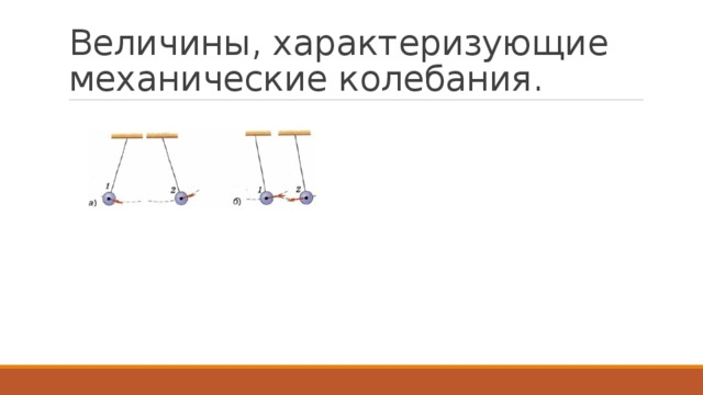 Величины, характеризующие механические колебания.