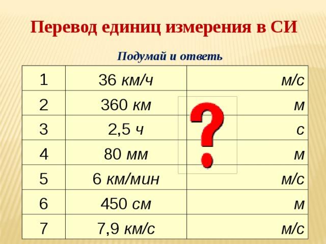 Перевод единиц измерения в СИ Подумай и ответь 1 36 км/ч 2 м/с 360 км 3 2,5 ч м 4 5 с 80 мм 6 км/мин м 6 м/с 450 см 7 7,9 км/с м м/с