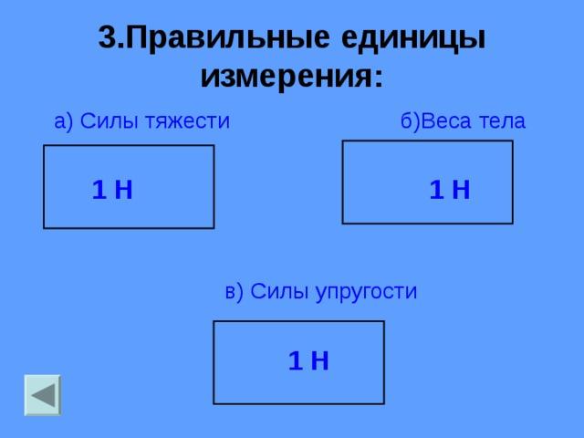 3.Правильные единицы измерения:  а) Силы тяжести б)Веса тела  1 Н 1 Н   в)  Силы упругости   1 Н