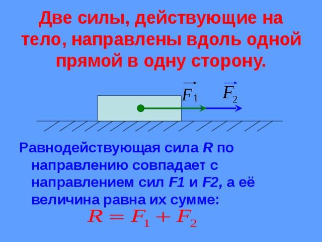Две силы, действующие на тело, направлены вдоль одной прямой в одну сторону. Равнодействующая сила R по направлению совпадает с направлением сил F1  и F2 , а её величина равна их сумме: