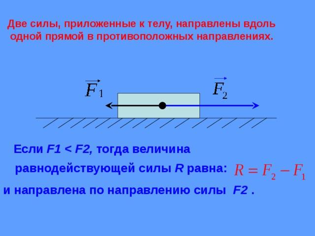 Две силы, приложенные к телу, направлены вдоль одной прямой в противоположных направлениях.  Если F1    F2 , тогда величина равнодействующей  силы  R равна: и направлена по направлению силы F 2 .