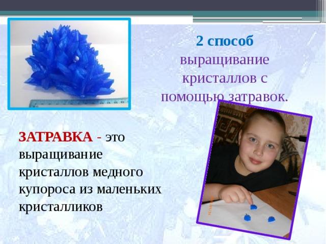 2 способ  выращивание  кристаллов с  помощью затравок.    ЗАТРАВКА - это выращивание кристаллов медного купороса из маленьких кристалликов