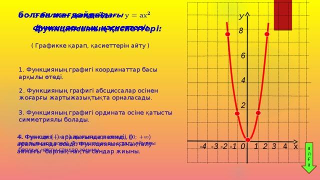 болған жағдайдағы  функциясының қасиеттері: У 8   6               4                      2 ( Графикке қарап, қасиеттерін айту ) 1. Функцияның графигі координаттар басы арқылы өтеді. 2. Функцияның графигі абсциссалар осінен жоғарғы жартыжазықтықта орналасады. 3. Функцияның графигі ордината осіне қатысты симметриялы болады. 4. Функция () аралығында кемиді, () аралығында өседі. Функцияның анықталу аймағы барлық нақты сандар жиыны.    -4 -3 -2 -1  0 1 2 3 4 х  ал Ғ а