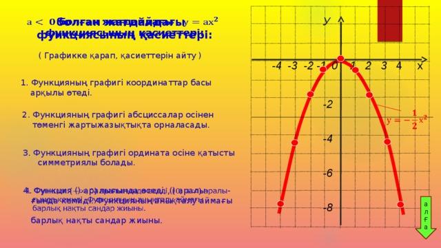 У    -2  -4              -6                     -8  болған жағдайдағы функциясының қасиеттері:  ( Графикке қарап, қасиеттерін айту )  -4 -3 -2 -1  0 1 2 3 4 х  1. Функцияның графигі координаттар басы арқылы өтеді.  2. Функцияның графигі абсциссалар осінен төменгі жартыжазықтықта орналасады. 3. Функцияның графигі ордината осіне қатысты симметриялы болады.  4. Функция () аралығында өседі, () аралы-  ғында кемиді. Функцияның анықталу аймағы  барлық нақты сандар жиыны.  ал Ғ а