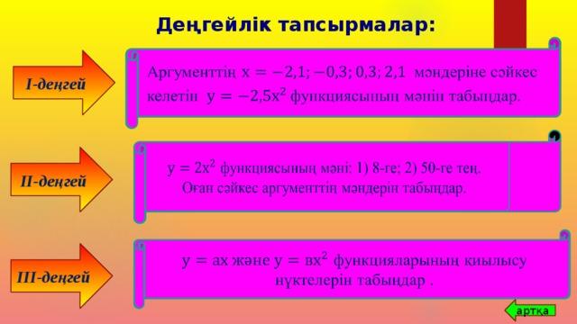 Деңгейлік тапсырмалар:  Аргументтің мәндеріне сәйкес   келетін функциясының мәнін табыңдар. I-деңгей  функциясының мәні: 1) 8-ге; 2) 50-ге тең. Оған сәйкес аргументтің мәндерін табыңдар.  II-деңгей  функцияларының қиылысу нүктелерін табыңдар .  III-деңгей артқа
