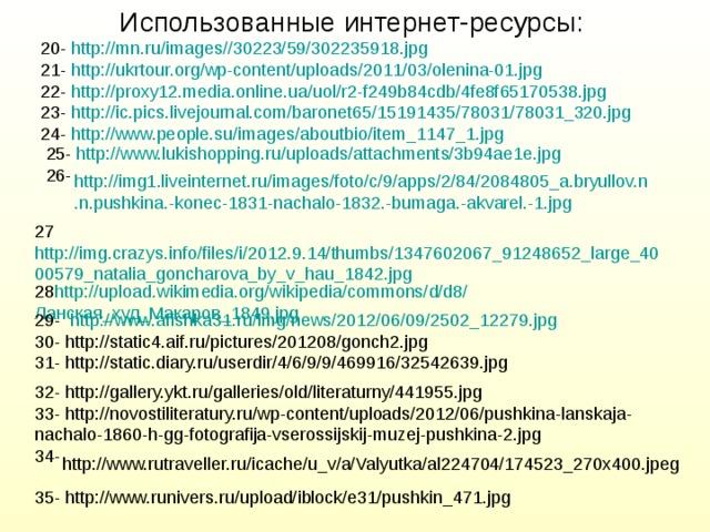 Использованные интернет-ресурсы: 20- http://mn.ru/images//30223/59/302235918.jpg 21- http://ukrtour.org/wp-content/uploads/2011/03/olenina-01.jpg 22- http://proxy12.media.online.ua/uol/r2-f249b84cdb/4fe8f65170538.jpg 23- http://ic.pics.livejournal.com/baronet65/15191435/78031/78031_320.jpg 24- http://www.people.su/images/aboutbio/item_1147_1.jpg 25- http://www.lukishopping.ru/uploads/attachments/3b94ae1e.jpg 26- http://img1.liveinternet.ru/images/foto/c/9/apps/2/84/2084805_a.bryullov.n.n.pushkina.-konec-1831-nachalo-1832.-bumaga.-akvarel.-1.jpg 27 http://img.crazys.info/files/i/2012.9.14/thumbs/1347602067_91248652_large_4000579_natalia_goncharova_by_v_hau_1842.jpg 28 http://upload.wikimedia.org/wikipedia/commons/d/d8/ Ланская_худ_Макаров_1849. jpg 29- http://www.afishka31.ru/img/news/2012/06/09/2502_12279.jpg 30- http://static4.aif.ru/pictures/201208/gonch2.jpg 31- http://static.diary.ru/userdir/4/6/9/9/469916/32542639.jpg 32- http://gallery.ykt.ru/galleries/old/literaturny/441955.jpg 33- http://novostiliteratury.ru/wp-content/uploads/2012/06/pushkina-lanskaja-nachalo-1860-h-gg-fotografija-vserossijskij-muzej-pushkina-2.jpg 34- http://www.rutraveller.ru/icache/u_v/a/Valyutka/al224704/174523_270x400.jpeg 35- http://www.runivers.ru/upload/iblock/e31/pushkin_471.jpg
