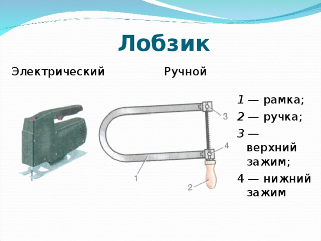 Лобзик Электрический Ручной  1 — рамка; 2 — ручка; 3 — верхний зажим; 4 — нижний зажим