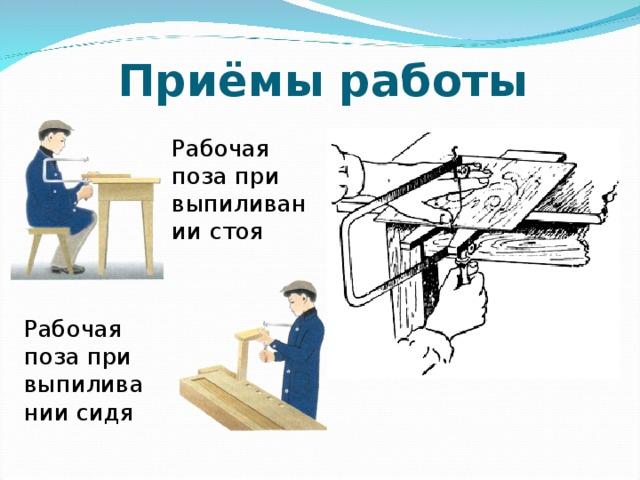 Приёмы  работы Рабочая поза при выпиливании стоя Рабочая поза при выпиливании сидя