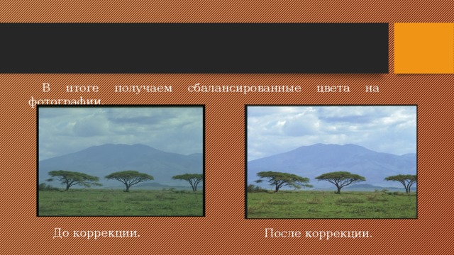 В итоге получаем сбалансированные цвета на фотографии. До коррекции. После коррекции.