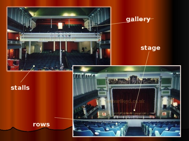 stalls gallery stage  rows