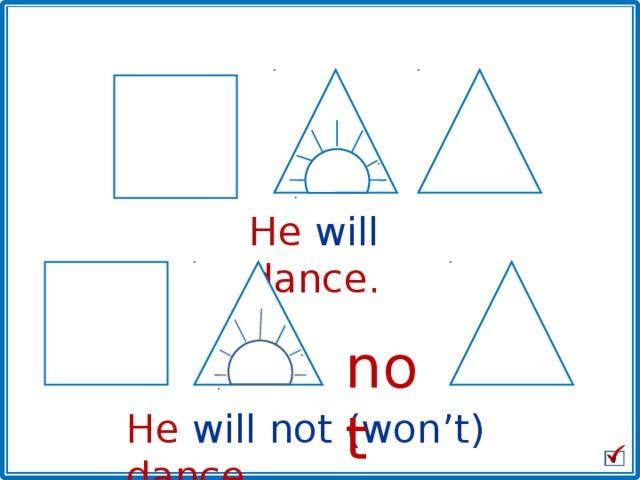 He will dance. not He will not (won't) dance.