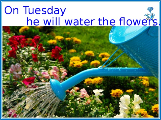 On Tuesday he will water the flowers.