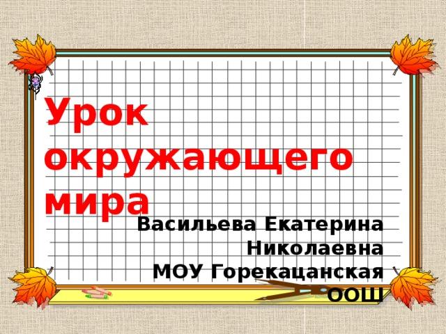Урок окружающего мира   Васильева Екатерина Николаевна  МОУ Горекацанская ООШ