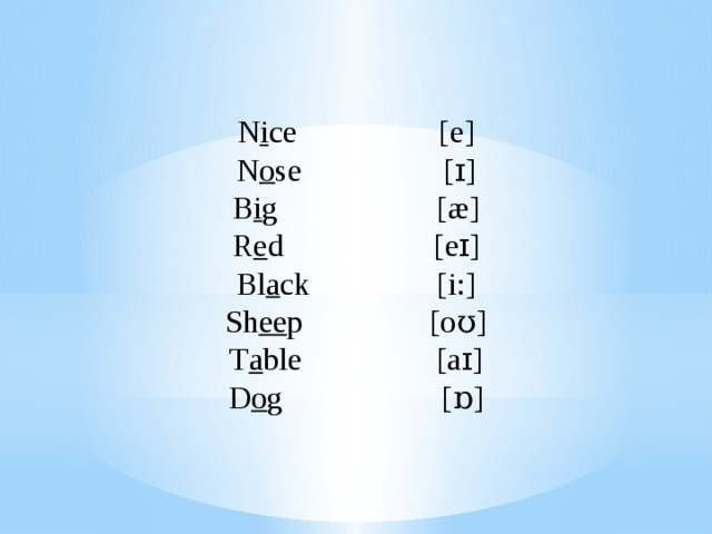 N i ce [e] N o se [ɪ] B i g [æ] R e d [eɪ] Bl a ck [i:] Sh ee p [oʊ] T a ble [aɪ] D o g [ɒ]