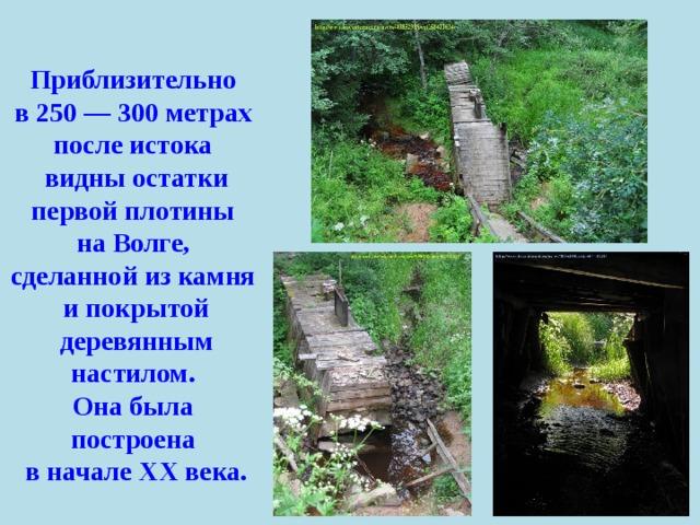 Приблизительно в 250 — 300 метрах после истока видны остатки первой плотины на Волге, сделанной из камня и покрытой деревянным настилом. Она была построена в начале ХХ века.