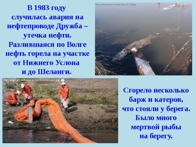 В 1983 году случилась авария на нефтепроводе Дружба – утечка нефти. Разлившаяся по Волге нефть горела на участке от Нижнего Услона и до Шеланги. Сгорело несколько барж и катеров, что стояли у берега. Было много мертвой рыбы на берегу.