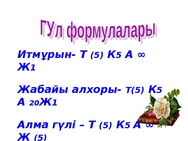 Итмұрын- Т (5) К 5 А ∞ Ж 1  Жабайы алхоры- Т(5) К 5 А 20 Ж 1  Алма гүлі – Т (5) К 5 А ∞ Ж (5)
