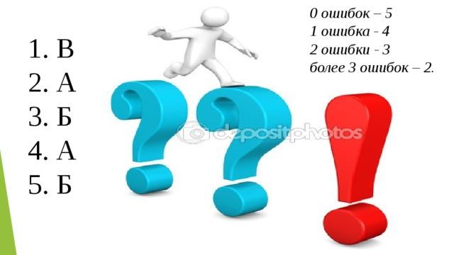 0 ошибок – 5 1 ошибка - 4 2 ошибки - 3 более 3 ошибок – 2. 1. В 2. А 3. Б 4. А 5. Б
