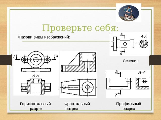 Проверьте себя: Назови виды изображений: Сечение Горизонтальный  разрез Фронтальный  разрез Профильный разрез