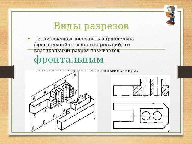 Виды разрезов  Если секущая плоскость параллельна фронтальной плоскости проекций, то вертикальный разрез называется фронтальным  и размещается на месте главного вида.